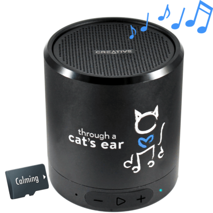 icalmcat portable speaker with calming feline tunes music sound therapy