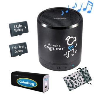 iCalmDog Dog Lover's Deluxe Package includes Bluetooth Speaker, Power Bank, 2 micro SD sound cards and a pouch