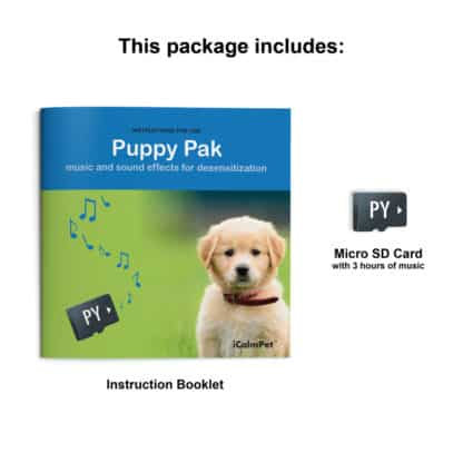 icalmpet icalmdog puppy pak music and sound effects to desensitize your puppy anxiety noise phobia treatment for canines through a dog's ear