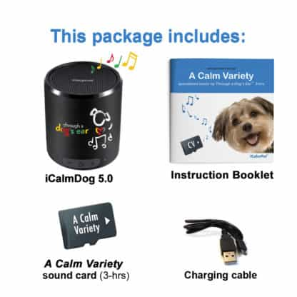 icalmpet a calm variety this package includes 5.0 portable speaker a calm variety instruction booklet sound card charging cable through a dogs ear reggae classical piano