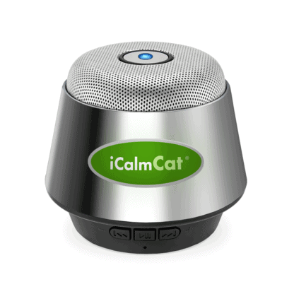 Click here to view and purchase the portable iCalmCat speaker a la carte, includes charging and audio cables