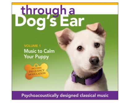 through a dog's ear music to calm your puppy psychoacoustically designed classical tunes for calm dogs Click here to view and purchase the Music to Calm Your Puppy, Vol. 1 (CD)